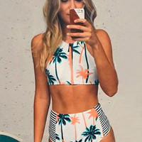White Palm Tree Print Cropped Top and High-Waisted Bottom Swimsuit