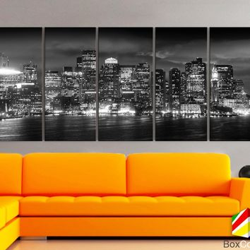 "XLARGE 30""x70"" 5 Panels Art Canvas Print Boston light Skyline bridge night Black White Wall Home Office decor interior (framed 1.5""depth)"