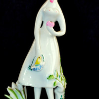 Rosenthal Figurine Peynet Girl with Heart 5120 1950s Studio Linie German Porcelain Figure