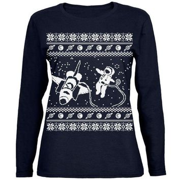 ONETOW Astronaut in Space Ugly Christmas Sweater Womens Long Sleeve T Shirt