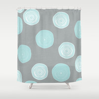 blue floral Shower Curtain by her art