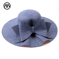 2017 Bow Tie Fedoras Felt Hats Women Autumn Winter Cap For Women Europe Classic Girl Vintage Hat Wave Brim Fedoras Church Hats