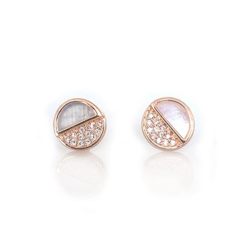 Moonstone & Diamond Galaxy Studs