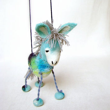 Marino - Felt Donkey Art Marionette Handmade Puppet Felted Animals Toy. blue aqua sea mint turguoise pastel aquamarine sky. MADE TO ORDER.