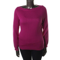 Ralph Lauren Womens Ribbed Knit Boat Neck Pullover Sweater