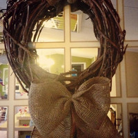 Small Grapevine Wreath with Burlap Bow