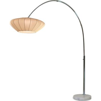 Cloud Arc Lamp Chrome White Marble Base & White Lycra Shade