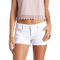 Distressed Cut-Off Denim Shorts by Charlotte Russe - White