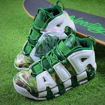 DCC3W Bape x Nike Air More Uptempo OG Basketball Shoes White Gren Camo Sneaker