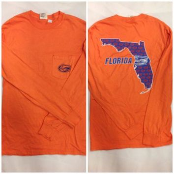 DCCKG8Q NCAA Florida Gators Comfort Colors Orange Long Sleeve Tee With Pocket Square