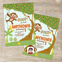 Monkey Invitation Monkey Birthday Invitations Boy Mod Monkey Party Invite boys chevron swinging chimp chimpanzee, baby little monkey vine