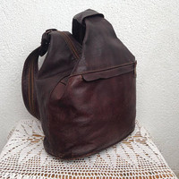 Aged Leather Backpack, Brown Leather Rucksack, Genuine Leather Unistrap Knapsack, Distressed Leather Shoulder Bag For Women, 80s Boho Purse