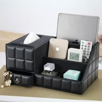 Multipurpose Desk Organizer Leather PU Vintage Office Desk Storage Box Black Classic Pencil Holder Stationery Collection Boxes