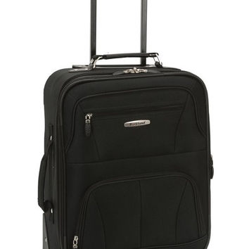 "F2281-BLACK Pasadena 19"" Expandable Spinner Carry On Luggage Set"