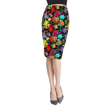 SIF 2016 Spring Summer Vintage Fashion Printed Pencil Skirt Midi Women Knee-Length Elastic High Waist Ladies Pattern Skirts JAN