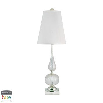 Serrated Venetian Glass Table Lamp in Clear and Gold - with Philips Hue LED Bulb/Bridge