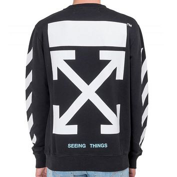 OFF-WHITE autumn and winter new arrow striped crewneck sweater Black