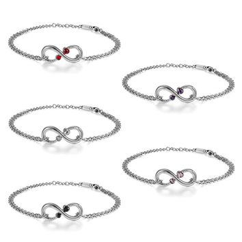 SHIPS FROM USA Stainless Steel Infinity heart Bracelet Simple Fashion Jewelry Rhinestone Link Chain Charm Bracelets for Women