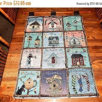 Wall Hanging Tapestry Bird Houses 12 Month Pictorial Julie Huber Folk Art Country Farmhouse Home Decor FREE SHIPPING