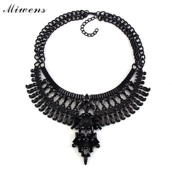 Miwens 2016 New Hot Black Collar Statement Necklaces & Pendants Collier Choker Big Vintage Maxi Chunky Necklace Jewelry 6231