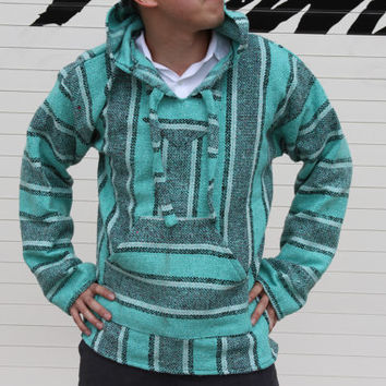 Large Baja Hoodie, Authentic Hand Woven Mexican Baja Hoodies Sweater, Bohemian Gypsy Beach Sweater Drug Rug, Teal