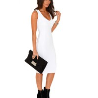 Missguided - Ryana Ribbed Bodycon Midi Dress In White