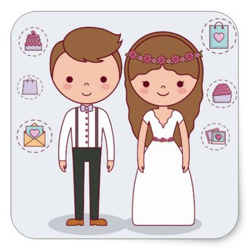 Wedding Cartoon Square Sticker