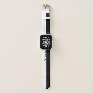 Black and White Personalized Name Apple Watch Band
