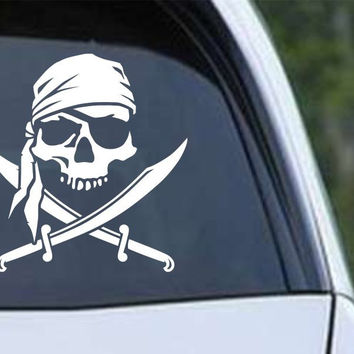 Pirate Skull and Cross Swords Jolly Roger Die Cut Vinyl Decal Sticker
