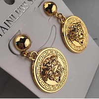 """Versace"" Stylish Women Delicate Round Stud Earring Jewelry I12457-1"