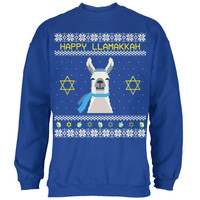 Llama Llamakkah Ugly Hanukkah Sweater Royal Adult Sweatshirt