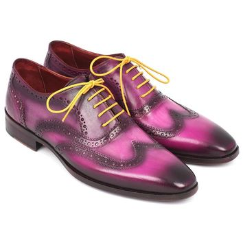 Men's Wingtip Oxfords Lilac Handpainted Calfskin