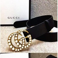 GUCCI Women Fashion Diamond Smooth Buckle Belt Leather Belt