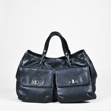 """Chanel Black Caviar Leather """"Large Pocket-in-the-City"""" Tote Bag"""