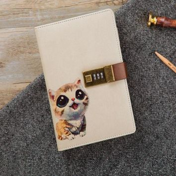 Cute Pet Diay With Lock Notebook Kawaii Travel Diary And Journals Sketchbook Personal Diary
