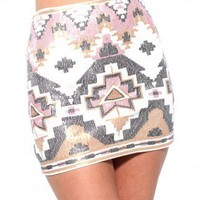 Tribal Sequin Mini Skirt in Pink