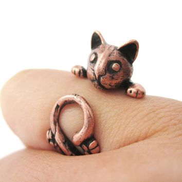 Creepy Kitty Cat Shaped Animal Wrap Around Ring in Copper | US Size 5 to Size 8.5