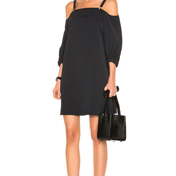 Tibi Twill Suspender Dress in Black | FWRD