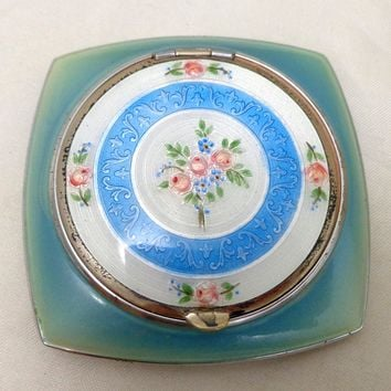 Vintage Evans Hand Painted Guilloche Blue White Enamel Double Compact