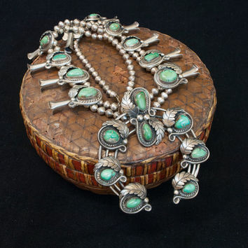 Vintage 1970's Navajo Sterling Silver and Turquoise Large Squash Blossom Necklace reg 2295.00 Now 1395.00
