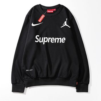 KUYOU Supreme Nike Jordan Round neck long sleeve sweater Black