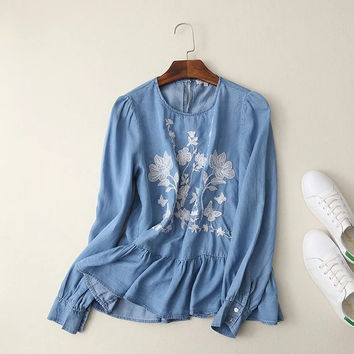 Vintage Hippie Tunic Chemise Femme Camicia Donna Embroidery Pullover Ruffled Denim Blue Cotton Shirt Blouse Women Spring Tops