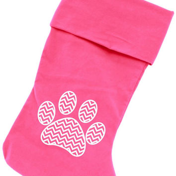 Chevron Paw Screen Print 18 inch Velvet Christmas Stocking Pink