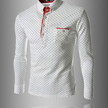 Streetstyle  Casual Color Block Polka Dot Polo Men's Shirt