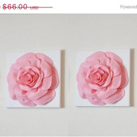 """MOTHERS DAY SALE Two Wall Hangings -Light Pink Roses on White 12 x12"""" Canvases Wall Art- Baby Nursery Wall Decor-"""
