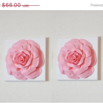 "MOTHERS DAY SALE Two Wall Hangings -Light Pink Roses on White 12 x12"" Canvases Wall Art- Baby Nursery Wall Decor-"