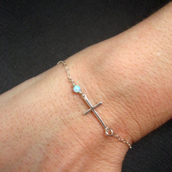 Sideways Cross Bracelet, Sterling Silver, Side Cross Bracelet, Light Blue Opal Bracelet, Protection Bracelet, Christian Bracelet