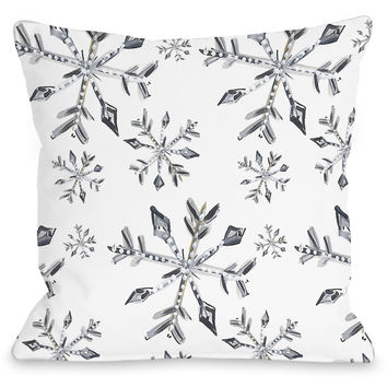 """Silver Snowflake Pattern"" Indoor Throw Pillow by Timree Gold, 16""x16"""