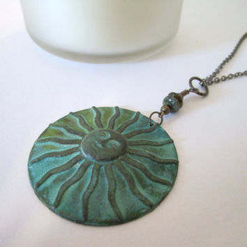 Sun Necklace - (Verdigris Patina Pendant)