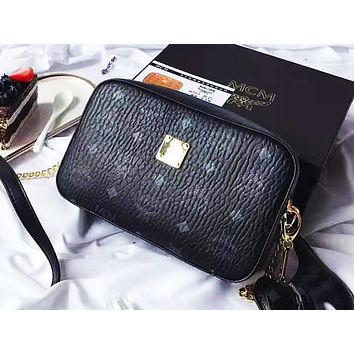 MCM fashion hot seller women's print shopping bag hot seller casual shoulder bag Black